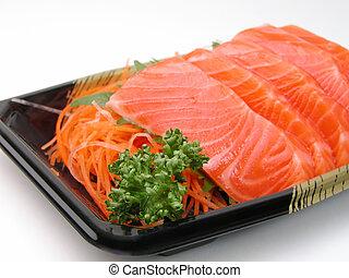 Salmon sashimi close-up