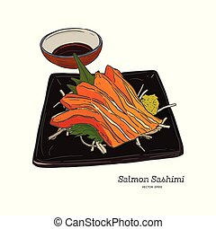 Salmon sashimi Hand draw sketch vector.