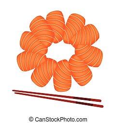 Salmon Sashimi with Chopsticks on White Background -...