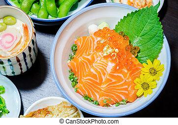 Salmon sashimi with salmon's egg (Ikura) in bowl. - Salmon ...
