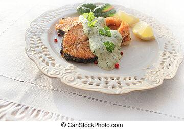 salmon, saus, geroosterd