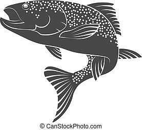 Salmon silhouette - Silhouette salmon fishing and food