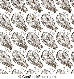 Salmon slice cooked in restaurant or home seamless pattern