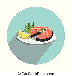 Salmon slice on white background flat