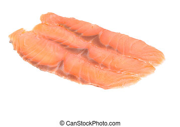 salmon slices of fresh isolated on white background