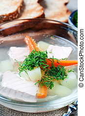 Salmon soup; with bread background