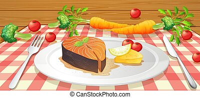 Salmon Stake with Fresh Vegetable