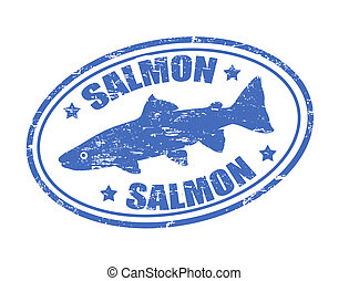 Grunge rubber stamp of a salmon fish and the word salmon written inside