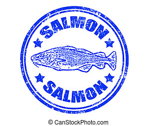 Salmon stamp - Grunge rubber stamp of a salmon fish and the...