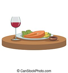 salmon steak and a glass of wine