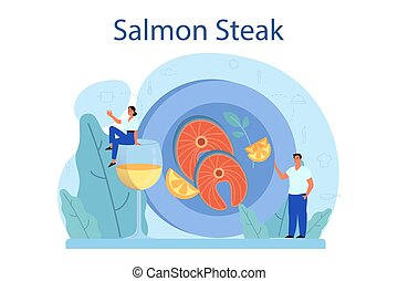 Salmon steak. Chef cooking grilled fish steak on the plate with
