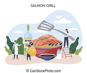 Salmon steak. Chef cooking grilled fish steak on the plate