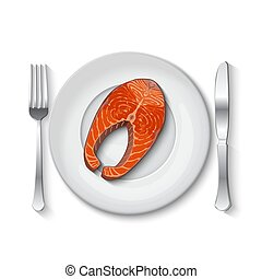 Salmon steak on a white plate