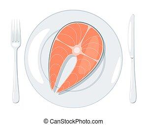Salmon steak on plate vector illustration