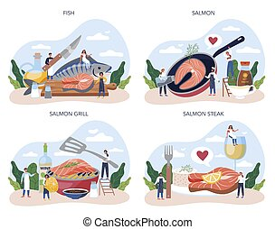 Salmon steak set. Chef cooking grilled fish steak on the plate