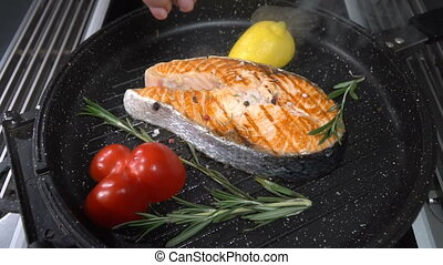 Salmon steak sprinkled with salt and spices. Slow motion -...