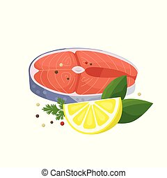 Salmon steak with lemon and spices vector illustration in flat design isolated on white background.