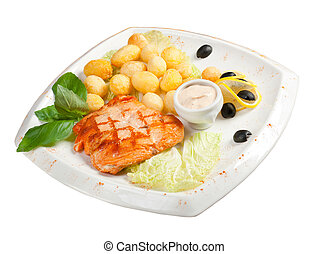 Salmon Steak with Vegetable