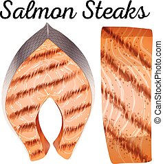 Salmon steaks on white background