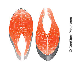 Two cross-section salmon steaks side by side, isolated on white. EPS10 vector format