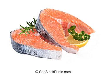 Salmon steaks - Two fresh Norwegian salmon steaks