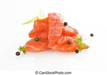 Salmon sushi - sashimi.