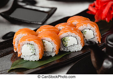 Salmon sushi with rice