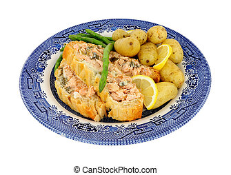 Salmon Wellington Meal - Sliced puff pastry covered salmon ...