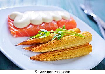 salmon with corn