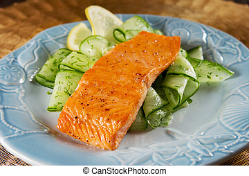 Salmon with cucumber salad