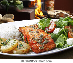 Salmon with garnishes
