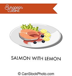 Salmon with lemon from European cuisine isolated illustration