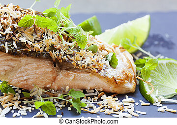 Salmon with Lime and Toasted Coconut