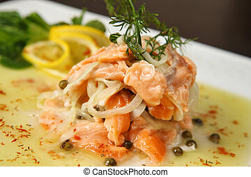 salmon with onion