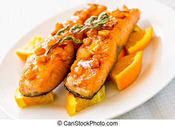 Salmon with orange and mint sauce