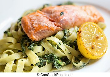 Salmon with pasta and spinach - Grilled atlantic salmon...