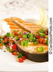 Salmon with pepper salsa