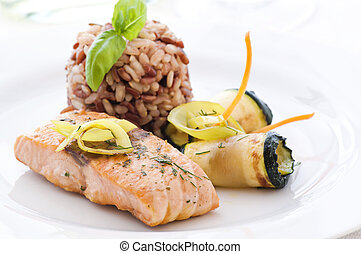 Salmon with Rice and Vegetable