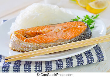 salmon with rice noodles
