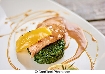 Salmon with soy caramel sauce.
