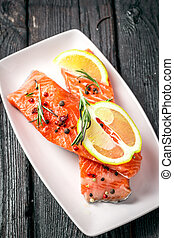 salmon with spices on a plate
