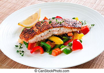 Salmon with vegetables - Grilled salmon with vegetables,...