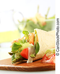 Salmon wrap sandwich - Tortilla filled with fresh vegetables...