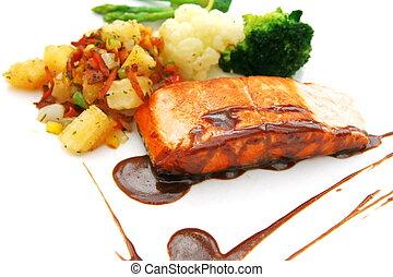 salmone, affettato, bistecca