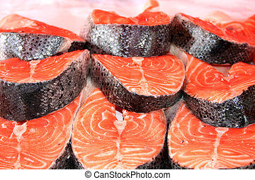 salmone, bistecche