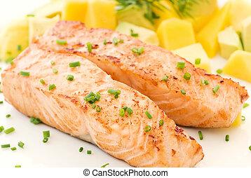 salmone, con, frutte