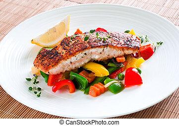 salmone, con, verdura
