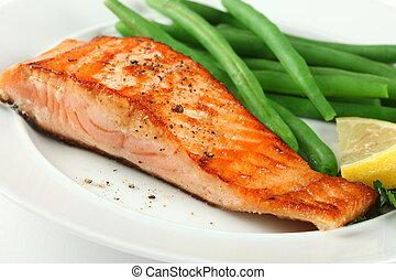 salmone, fellet, closeup, fagioli, cotto ferri, verde