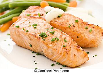 salmone, filet, con, fagioli
