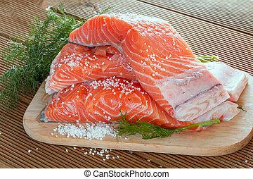 salmone, filetto, con, aneto